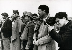 "Hemingway with Joris Ivens during the filming of ""The Spanish Earth""."