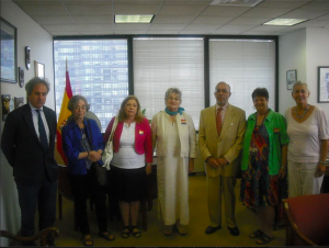 (L. to R.) Inigo Ramirez de Haro Valdes,Carol Smith, Nancy Wallach, Georgia Wever, Hon. Juan Ramon Martinez, Sue Yellin, Abby London-Crawford
