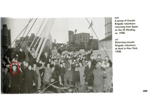 Fig. 13: On the dock after the landing of the Paris (from Carroll and Fernandez, Facing Fascism: New York and the Spanish Civil War).
