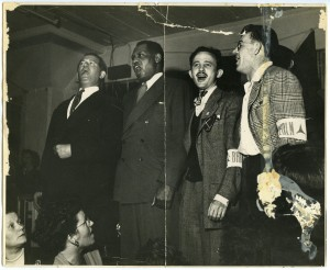 Bart van der Schelling, Paul Robeson, Moe Fishman, and Art Landis. Tamiment Library, NYU, ALBA Photo 66, box 1, folder 3.