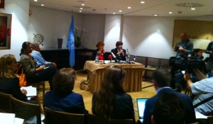 Representatives of the UN working group at its Sept. 30, 2013 press conference in Madrid. Photo Pilar Oncina.