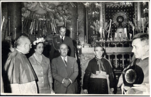 The aging Spanish dictator at the Church of La Virgen del Pilar in Zaragoza, with his wife and Archbishop Morcillo.