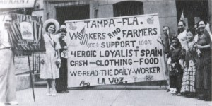 Mobilized Spanish immigrants in Tampa, Florida. Reproduced in Stars for Spain: La guerra civil española en los Estados Unidos.