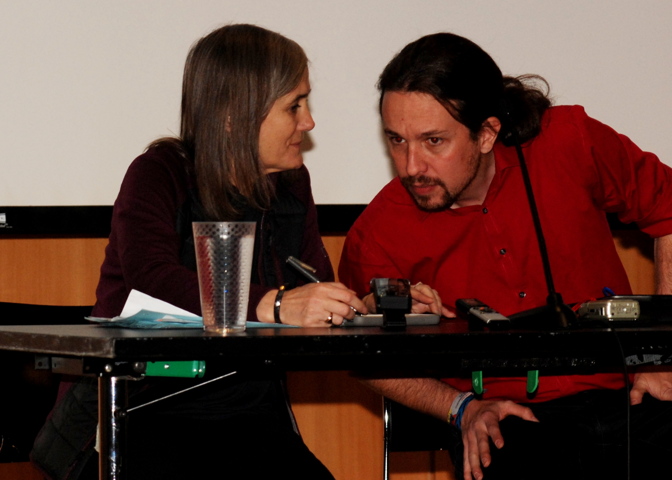 Pablo Iglesias speaks with Amy Goodman of Democracy Now! Photo Len Tsou.