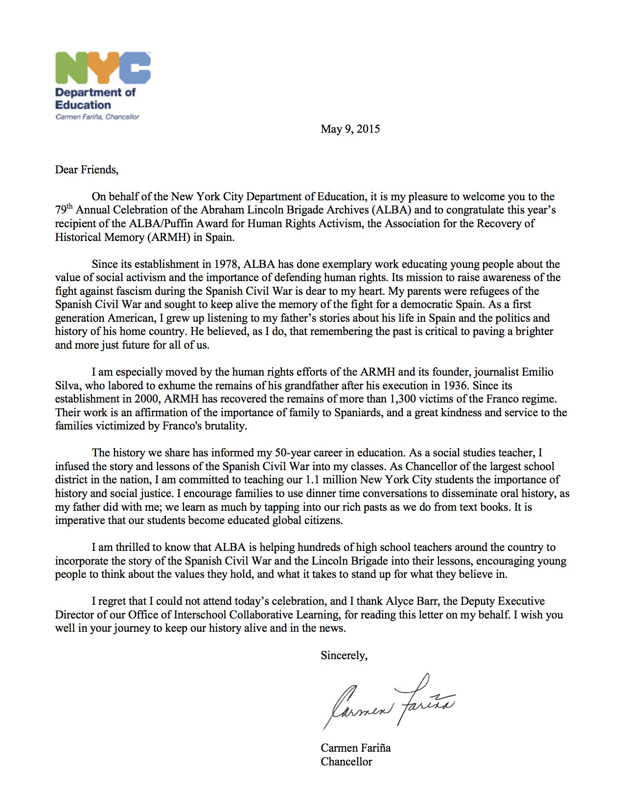 A Letter From The NYC Chancellor Of Education