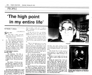 An article on Irv Goff by Tim Johnson in the People's Daily World, Feb. 1987.