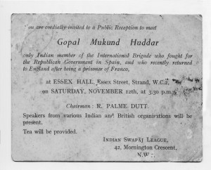 A 1938 invitation card  (Courtesy of Shailendra Vaidya)