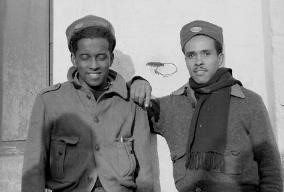 Otto Reeves, left,  and Frank Alexander, Mackenzie-Papineau Battalion, December 1937. The 15th International Brigade Photographic Unit Photograph Collection ; ALBA Photo 11; ALBA Photo number 11-0995. Tamiment Library/Robert F. Wagner Labor Archives. Elmer Holmes Bobst Library, 70 Washington Square South, New York, NY 10012, New York University Libraries.