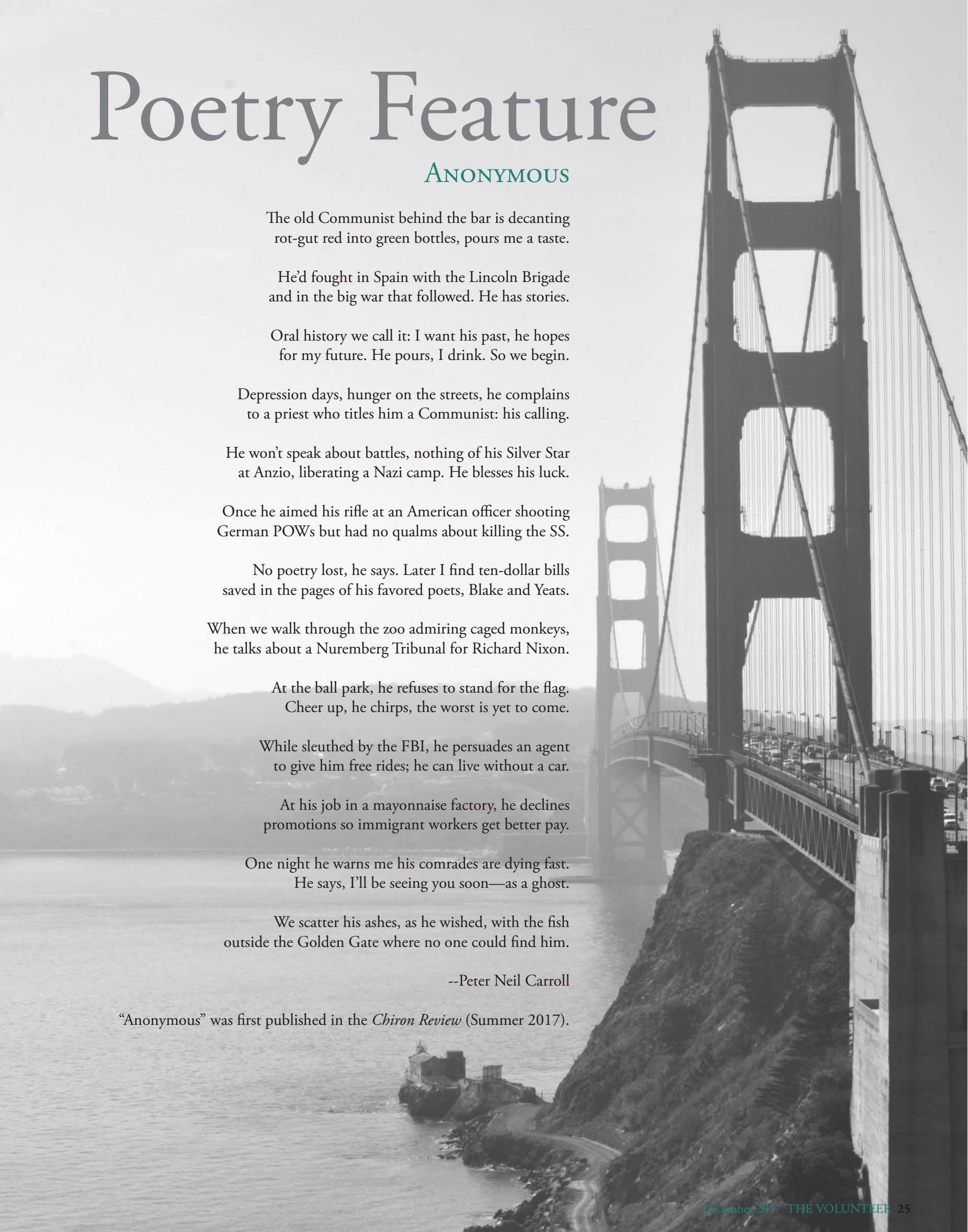 Poetry Feature: Anonymous   The Volunteer