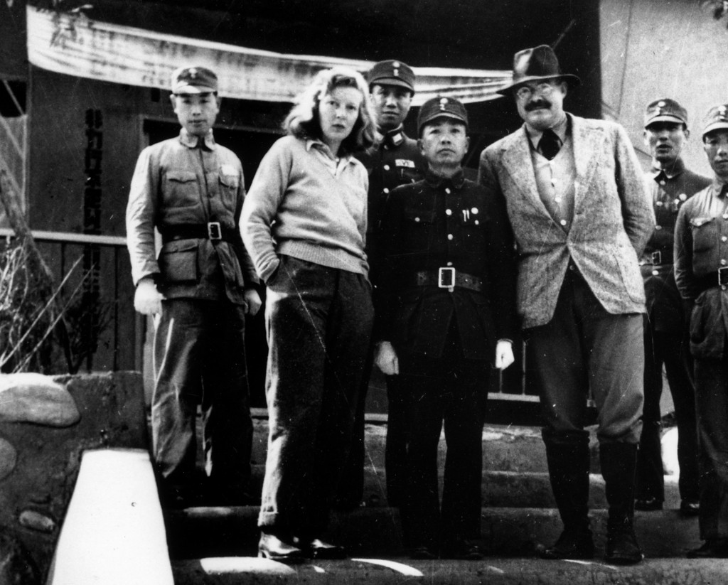 Martha Gellhorn and Ernest Hemingway with unidentified Chinese military officers, Chongqing, China, 1941. JFK Presidential Library. Public domain.