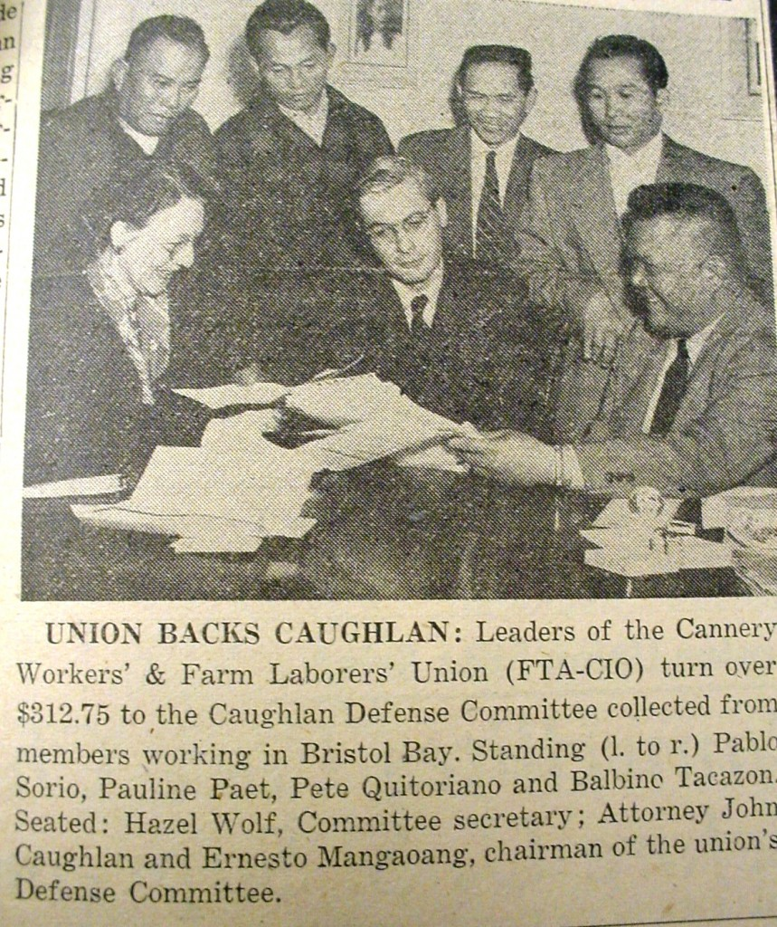 Cannery Worker's Union leaders contribute to the Caughlan Defense fund after the attorney was indicted for perjury in a blatant attempt to shut down the legal wing of the CRC and the Communist movement. (New World August 9, 1948). Courtesy of UW Seattle.