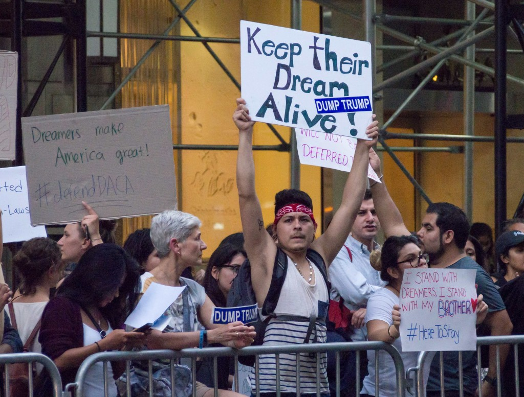 Protest in support of DACA at Trump Tower in New York City, September 2017. Photo Rhododendrites, CC BY-SA 4.0.