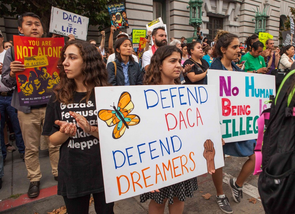 Protesters at a DACA rally in San Francisco, September 2017. Photo Pax Ahimsa Gethen, CC BY-SA 4.0.