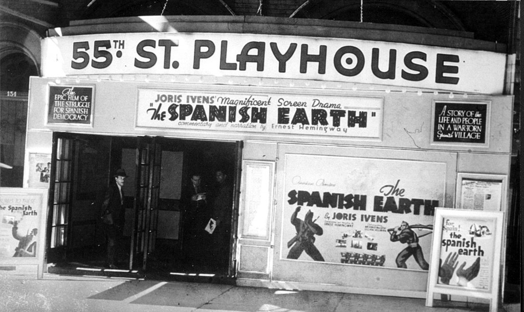The Spanish Earth showing at the 55th St Playhouse. Photo Ivens Foundation.