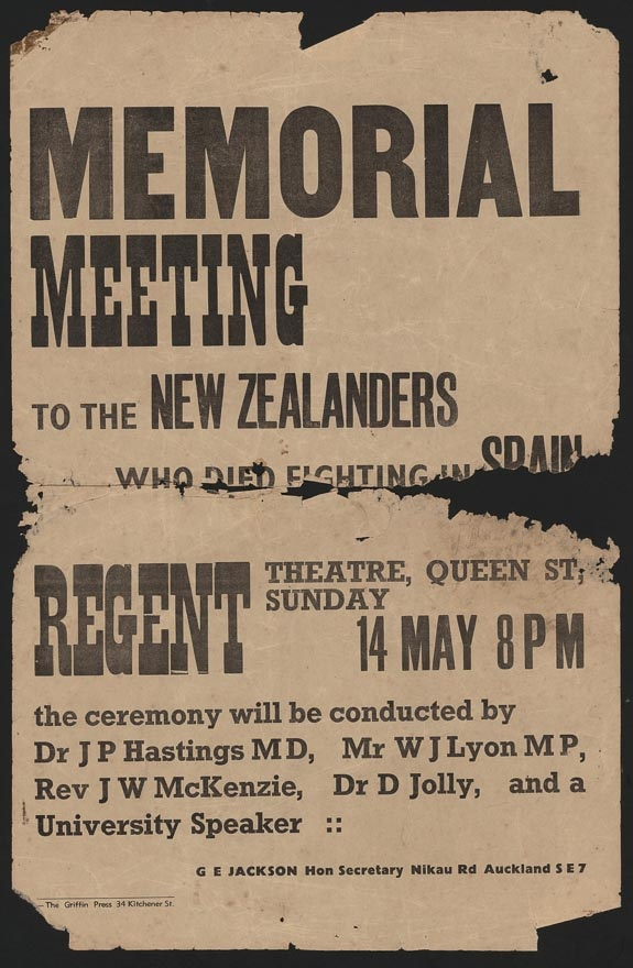 Poster advertising a memorial meeting to the New Zealanders who died fighting in Spanish Civil War (Auckland, May 1939).