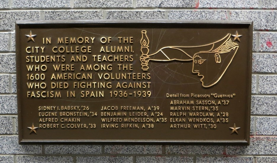 The CCNY plaque was installed April 13, 1980, and is currently located on the second floor of the North Academic Center (Convent Avenue) on the campus. Photography Peter Arthur Witt.