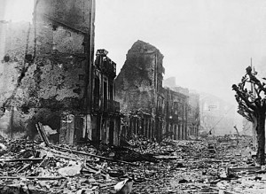 The town of Guernica after the April 26, 1937 bombing.