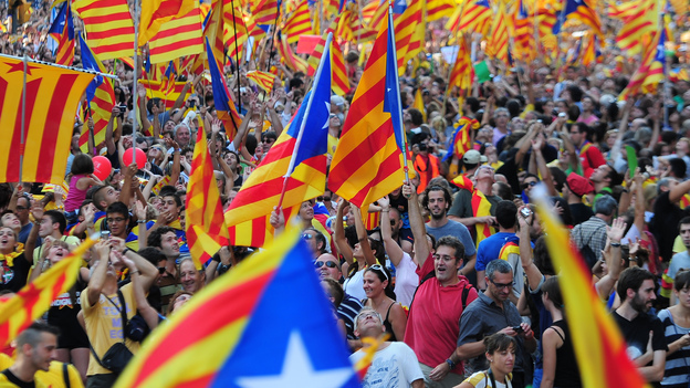 Protests in Catalonia on 11 September 2012.