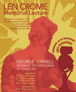 Poster of the 2013 Len Crome Memorial Lecture in Manchester shows George Orwell speaking into a BBC microphone.