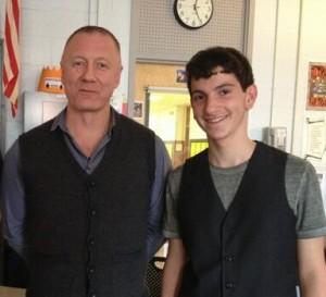 Andrew Plotch (right) with Sergei Alschen, social studies teacher and ALBA institute alum at Bergen Academies, New Jersey.