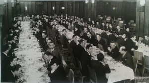 Bart (second row, third from the bottom) at a dinner of the Veterans of the Abraham Lincoln Brigade. Date unknown.