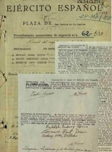 Original documents of the Summary Trial nº62/1938. The Lincolns' names and signatures are visible. A.H.D.(Archivo Histórico de Defensa), CDGCE Fund Caixa Vinaròs