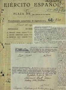 Documentos originales del Sumarísimo nº62/1938 en los cuales se pueden apreciar sus nombres y firmas. A.H.D.(Archivo Histórico de Defensa), CDGCEFundCaixaVinaròs