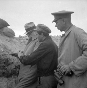 Colonel Stephen Fuqua, David Doran and Captain Hans Amlie at Fuentes de Ebro, Nov. 1937 (Tamiment Library, NYU, 15th IB Photo Collection, Photo # 11-1350)