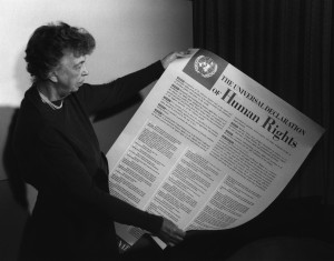 Eleanor Roosvelt displaying the UN Declaration of Human Rights