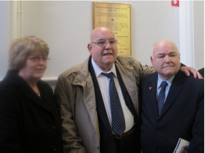 Tommy and Freddy McGrath and the niece of Bill Henry at the Unveiling of the International Brigade Commemoration Committee Plaque at the Shankill Road Library.