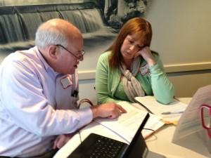 Glenn Swanson and Erin Degen plan a lesson. Photo Rich Cairn.