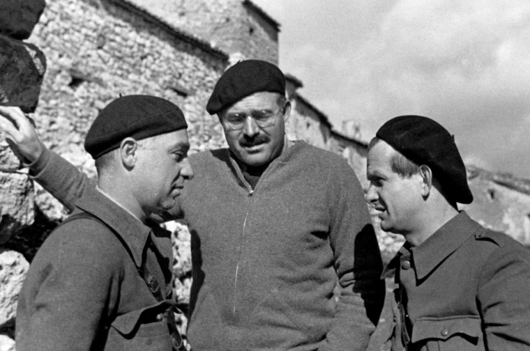 Ernest Hemingway with Ilya Ehrenburg and Gustav Regler during the Spanish Civil War, not dated, circa 1937. Hemingway Photograph Collection, John F. Kennedy Presidential Library and Museum, Boston. Public Domain.