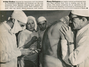 Humanitarian campaigns, then and now. Above, a photo by Walter Rosenblum for Liberty magazine of exiled Spanish doctors attending to a refugee in Southern France after World War II. Below, a photo of Doctors without Borders for its Syrian campaign (source.