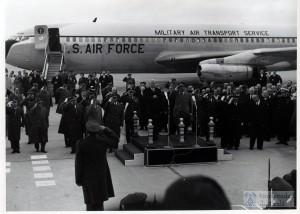 Franco and Eisenhower at the Torrejón airbase in Madrid, 1956. Phot Univ. Alcalá de Henares.
