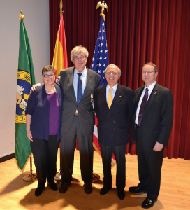 From left, UW President Ana Mari Cauce; Geist; Luis Fernando Esteban, Spain's honorary consul in Washington state; and UW Dean of Arts & Sciences Robert Stacey. Photo by Angel Arbeteta.