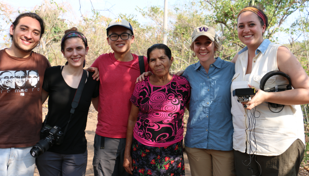 Members of the University of Washington faculty and student team in El Salvador, with Pro-Búsqueda staff and Milagro Martínez (at center). February 2015