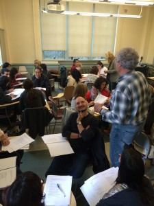 ALBA's Anthony Geist and Gina Herrmann work with Spanish teachers in Seattle.
