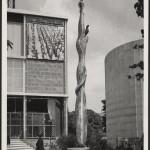 View of exterior mural, Spanish Pavilion, 1937, Exposition Internationale des Arts et Techniques. Arxiu Historic del Collegi Oficial d'Arquitectes de Catalunya, Barcelona. Photo by Roness-Ruan.