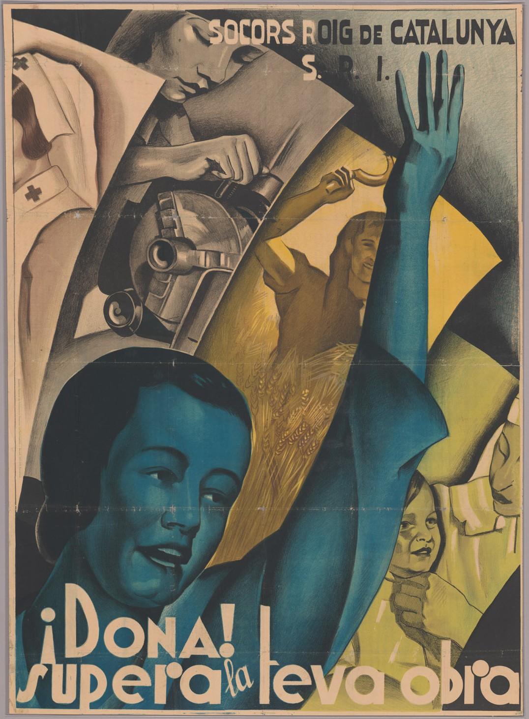 """¡Dona! supera la teva obra"" poster with Harry C. Shepard Jr. letter on verso , Veterans of the Abraham Lincoln Brigade, Bay Area Post records, 1928-1995,BANC MSS 71/105 z. Courtesy of The Bancroft Library, University of California, Berkeley."