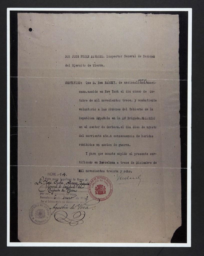 Ben Barsky's Spanish death certificate.