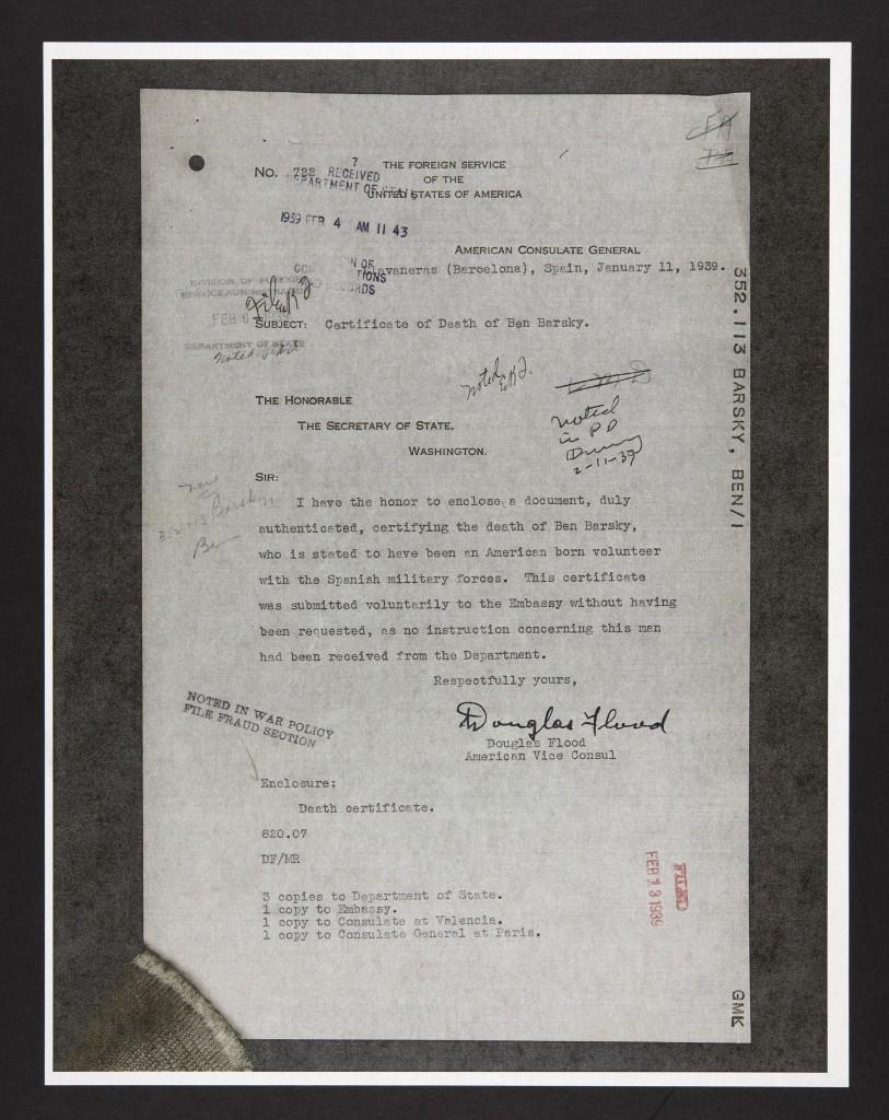 Barksy's U.S. death certificate.