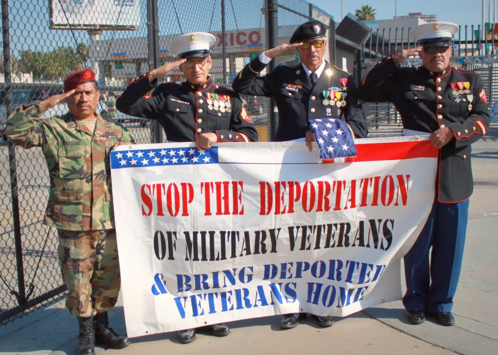 Rally for Banished Veterans and Veterans Facing Possible Deportation (At San Ysidro/Tijuana Border Point of Entry), Feb. 2010. From left to right: Fabian Rebolledo, Salvadore C. Torres, Valente Valenzuela, Manuel Valenzuela. Photo April Arreola, CC BY-NC-ND 2.0.