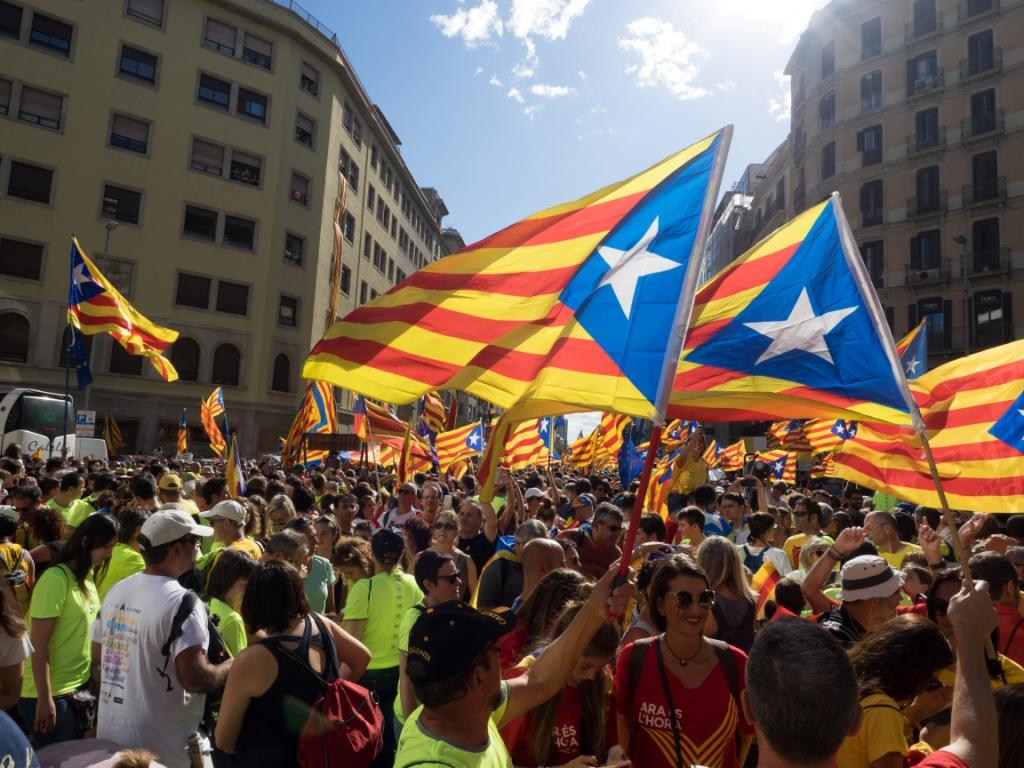 Pro-independence supporters during a rally in Barcelona on 11 September 2017. Photo Màrius Montón. CC BY-SA 4.0