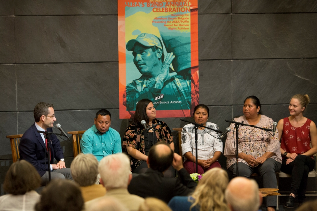 Political anchor Juan Manuel Benítez with members of the CIW