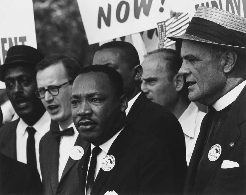 Dr. Martin Luther King Jr. and Matthew Ahmann at the 1963 Civil Rights March on Washington, D.C. Photo Rowland Scherman. U.S. National Archives and Records Administration. Public domain.