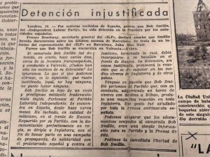"Clipping from ""La Batalla,"" the POUM's newspaper, May 20th, 1937. (Archivos de la Fundació Andreu Nin.)"