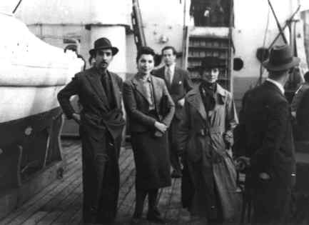 The Duchess of Atholl (right) with a Mexican diplomat and his wife on board the