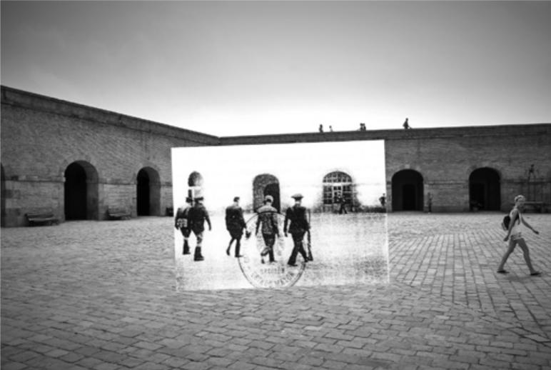 Patio de armas del castillo de Montjuïc. Barcelona, Ricard Martínez, 2011. On October 14, 1940, Lluís Companys, President of the Catalan Generalitat, is brought before a military tribunal, a few hours before his execution. (Photo credit original image: unidentified, 1940 / Archivo Varela, Cádiz).