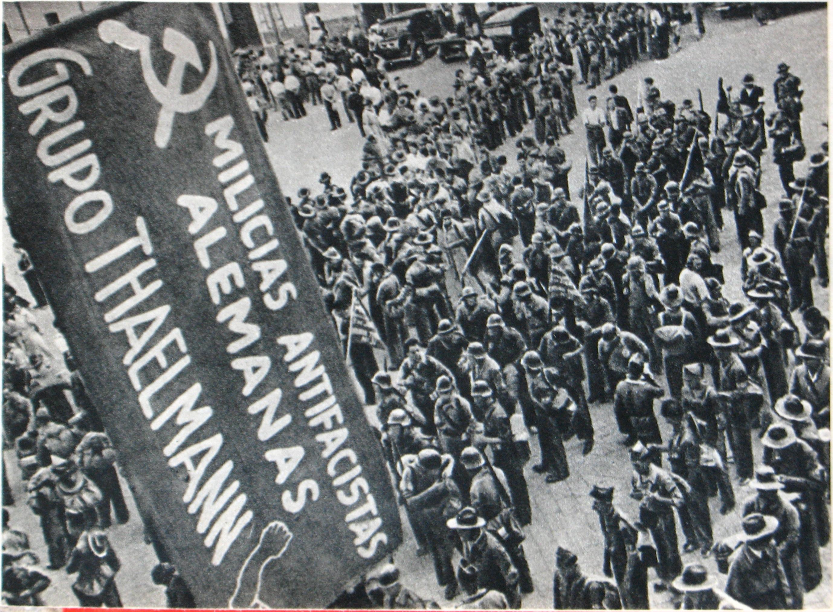 Soldiers of the Thälmann Battalion in Spain, c.1938. Mikhail Koltsov. Public Domain.